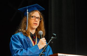 Oliver Wolcott Technical School Valedictorian Benjamin Andersen, gives his address during graduation ceremonies Wednesday at the Warner Theater in Torrington. Jim Shannon/Republican American
