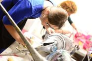 The costume staff of Cirque du Soleil's works backstage on June 19 to make sure the props and garments are ready for the opening night of 'Luzia' under the big top in Hartford.MICHAEL CHAIKEN REPUBLICAN-AMERICAN