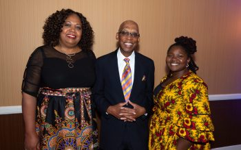 WATERBURY , CT-101219JS36- NAACP Branch President Ginne-Rae Clay, left, with 2019 President Award recipient, Judge Maurice Mosley and Alicia Pittman at the NAACP of Greater Waterbury's 55th annual Mind Body and Soul Freedom Fund Dinner held Saturday at the Courtyard Marriott in Waterbury. Jim Shannon Republican-American