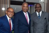 WATERBURY , CT-101219JS37- Event keynote speaker Dr. Jeff Gardere, Monroe Webster and Ken Harge, at the NAACP of Greater Waterbury's 55th annual Mind Body and Soul Freedom Fund Dinner held Saturday at the Courtyard Marriott in Waterbury. Jim Shannon Republican-American