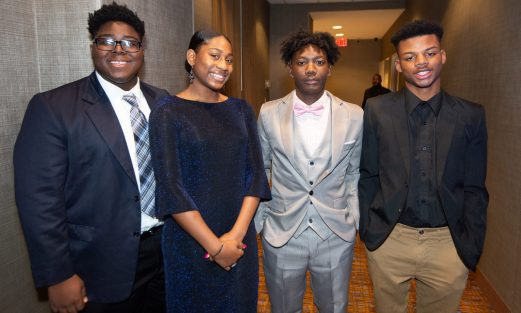 WATERBURY , CT-101219JS41- Nacho Vincent, 17; Asia Chapman, 16; 2019 Youth President of Waterbury NAACP Amari Brantly, 17 and Brandon Pittman, 17, at the NAACP of Greater Waterbury's 55th annual Mind Body and Soul Freedom Fund Dinner held Saturday at the Courtyard Marriott in Waterbury. Jim Shannon Republican-American