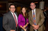 Ralph Richard and Stephani (CQ) Hayes, both of the Savings Bank of Danbury, and Jim Strub with Secor, Cassidy & McPartland, at the Main Street Waterbury's Annual Community Partnership Award ceremony held at the Palace Theater in Waterbury. Jim Shannon Republican-American