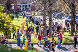 SOUTHBURY, CT. 26 October 2019-102619BS376 - Hundreds of kids along with their parents wait in long lines to enter the ninth Annual Trick-or-Treat Spooktacular at the Southbury Center Firehouse on Saturday. The firehouse was transformed into a maze of different themed-rooms where kids could collect treats. Bill Shettle Republican-American