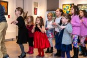 """WOODBURY, CT. 24 November 2019-112419BS205 - Children from the audience participate by acting like little mouses, during a performance of the popular Christmas Tale """" The Nutcracker """" for children and families at the Woodbury Public Library gallery on Sunday. Bill Shettle Republican-American"""