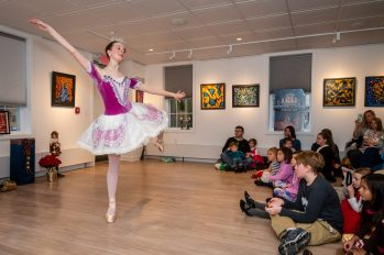 """WOODBURY, CT. 24 November 2019-112419BS212 - Main Street Ballet dancer Tate Dunbar, 15, of Bethlehem, who is Sugar Plum, dances during a performance of the popular Christmas Tale """"The Nutcracker """" at the Woodbury Public Library gallery on Sunday. Bill Shettle Republican-American"""