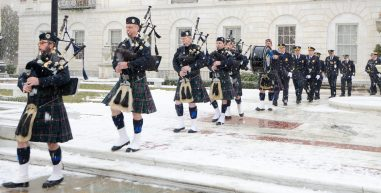 Members of the Police Pipes and Drums of Waterbury, march from City Hall to the Basilica of the Immaculate Conception for a Mass, following the inauguration for newly elected and re-elected officials Sunday at Waterbury City Hall. Jim Shannon Republican-American