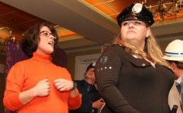 Christy Concilio, left, and Lori Stickney, both of Litchfield, perform during the Possum Queen Contest and Auction at the Litchfield Inn on Wednesday. John McKenna Photo