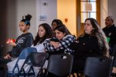 WATERBURY - Waterbury area teenagers listen to a special agent with the FBI's Violent Crimes Against Children Unit, give a presentation about human trafficking at Girls Inc. in Waterbury on Wednesday. Bill Shettle Republican-American