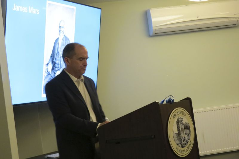 Educator, historian and author Peter Vermilyea gives a talk about the history of slavery in Litchfield County during a meeting of the Salisbury Association