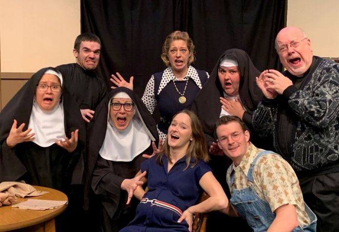 Front row from left, Maria Prussin as Sister Philamena, Colleen Renzuloo as Mother Superior, Jennifer Beveridge as Kate and Matt Cary as George. Back row from left, Brian Ekser as Paul, Becky venable as Sally, Shanelle Dupre as Sister Augusta and Tim Phillips as Father Chenille. (Photo by Lori Poulin)