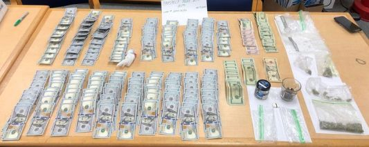 Police seized more than $19,000 and drugs, pictured, from a car during a traffic stop on Monday night in Prospect. Police arrested a Waterbury man in connection with the seizure. Contributed by state police