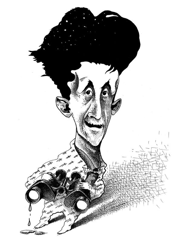 Bernd Pohlenz caricature of George Orwell, 2008