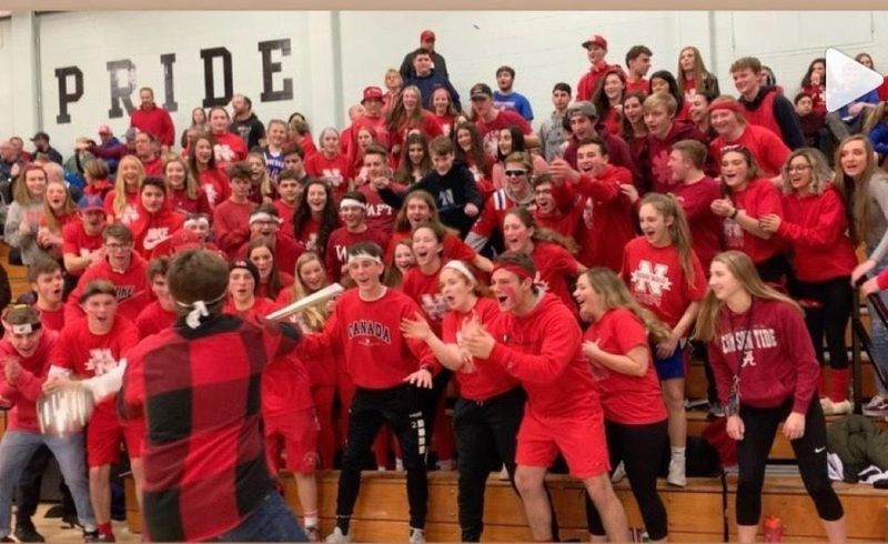 WOODBURY -- Nonnewaug High School students wore red last week for an LLS Red Out fundraiser organized by Katie Brown and her mother Tricia, who is a teacher there.Contributed