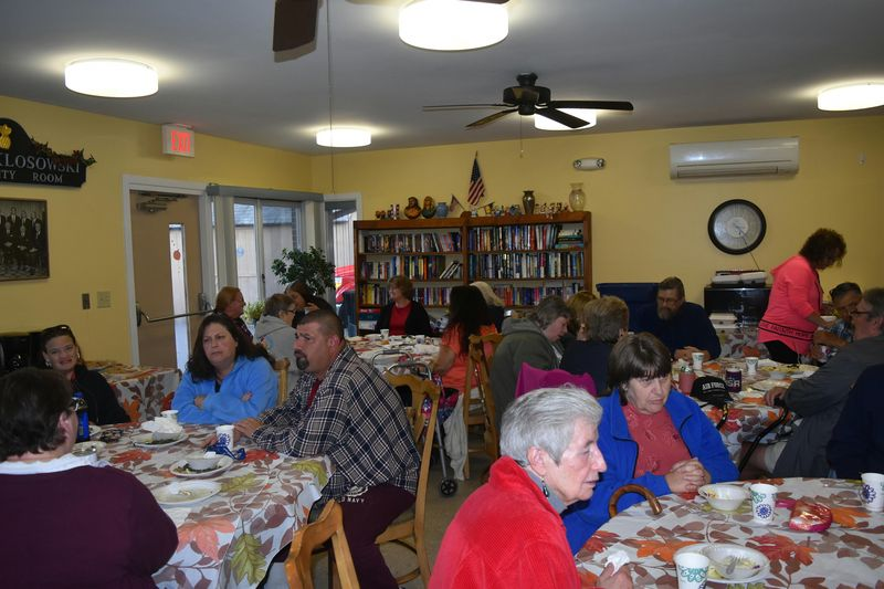 Patrons at Gosinski Park in Plymouth enjoy a meal in 2018. This week, Gosinksi Park residents will not have lunch provided to them after the manager of the lunch program was temporarily reassigned. Republican-American archives.