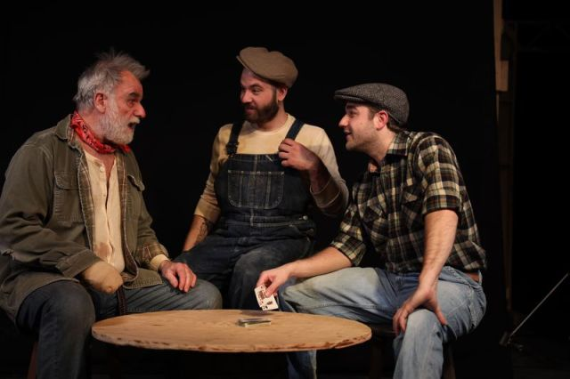 From left, Will Jeffries, Ian Diedrich and Rob Girardin in 'Of Mice and Men.' (Photo by Aaron Westcott)