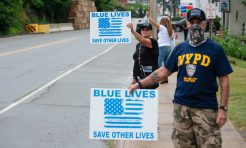 Joyce Palladino of Watertown and her husband Tony, were among those to turned out for a rally to support local and national law enforcement Saturday at Seth Thomas Park in Thomaston. Jim Shannon Republican-American