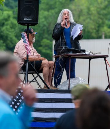 Donna Johnston, a licensed social worker from Plainfield, speaks in opposition of defunding the police, during a rally to support local and national law enforcement Saturday at Seth Thomas Park in Thomaston. Jim Shannon Republican-American
