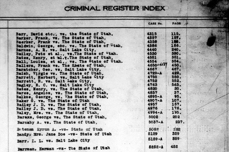 Page from criminal index
