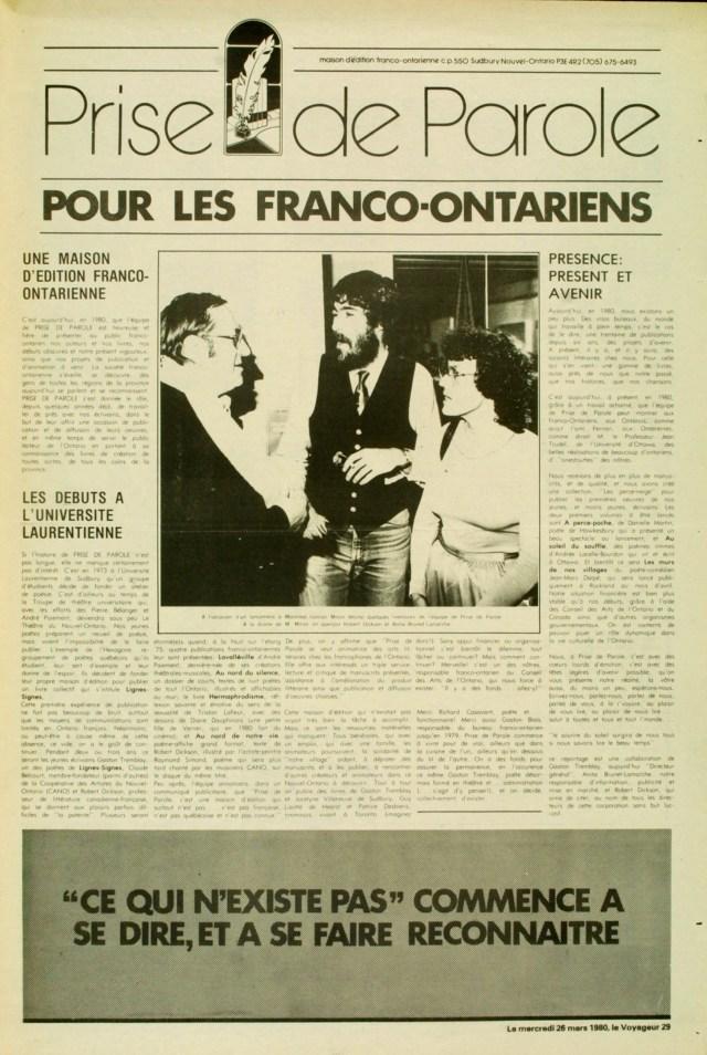 """Prise de parole : pour les Franco-Ontariens"""", section spéciale parue dans Le Voyageur, p. 29, Sudbury, Ontario, 26 mars 1980"""