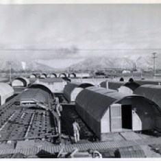 Black and white photograph of Naval Supply Depot in Clearfield, Utah, barracks construction, 1943.