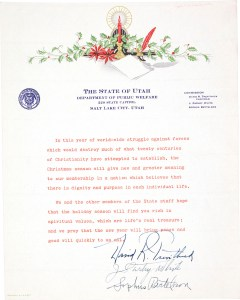 Letter from the Department of Public Welfare to Governor Herbert Maw received December 1943.