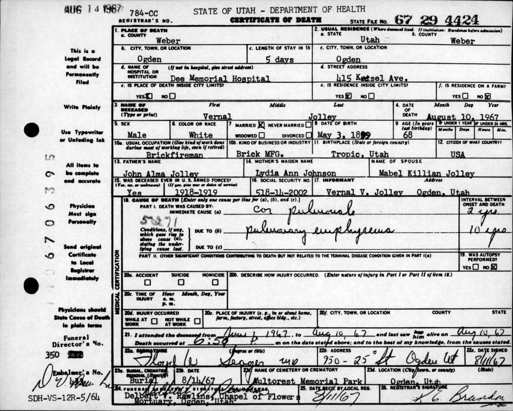 Death Certificates For 1966 1967 Indexed By Name Utah State