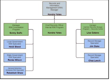 Organizational chart for the new RIM Section.