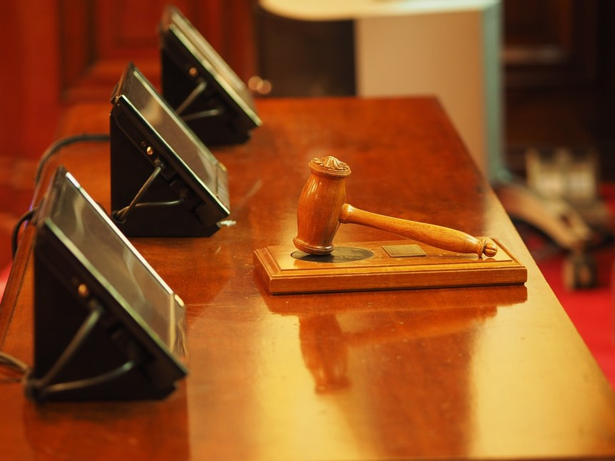 Gavel resting on table