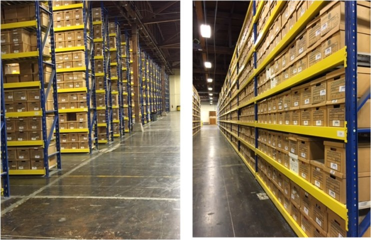 2 pictures. First is a picture of the many rows of records at the State Records Center. The Second is a single row of boxes.