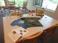 Display of memorabilia from the Marat Moore Collection.