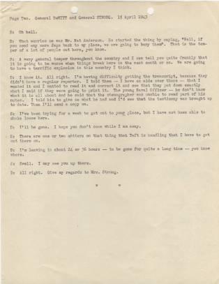 Transcript of telephone conversation between Gen. DeWitt and Gen. Strong p2