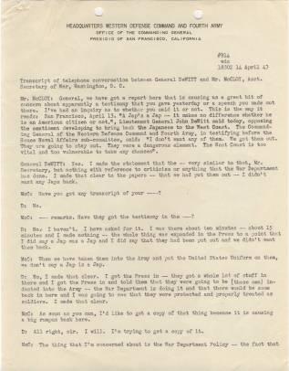 Transcript of telephone conversation between Gen. DeWitt and Asst Secretary of War McCloy p1