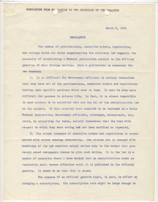 Memorandum from John G. Laylin, March 5, 1934, p1 NAID 12011779
