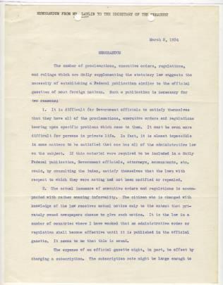 Memorandum from John G. Laylin, March 5, 1934, p1 NAID 12011779