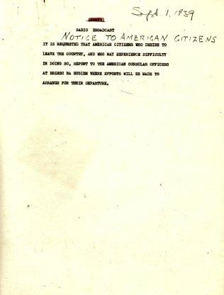 "Radio Broadcast, ""Notice to American Citizens"", September 1, 1939"