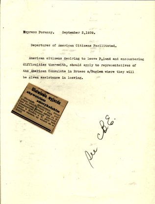"""Newspaper Notice, """"Departure of American Citizens Facilitated,"""" Express Porany, September 2, 1939"""