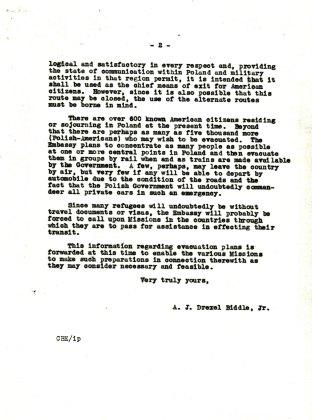 Letter from Ambassador Biddle to Ambassador Steinhardt, August 18, 1939, P.2