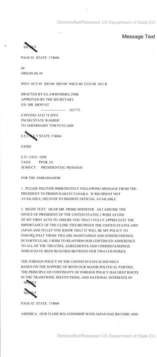 Telegram from President Ford to Prime Minister of Japan Tanaka