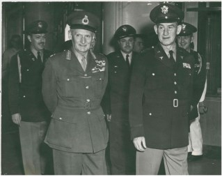 """Major General Martin E. Griffin escorts British Field Marshal Lord Bernard Montgomery, deputy commander NATO, to see the President."""