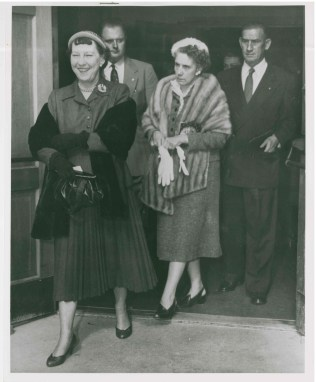 First Lady Mamie Eisenhower attending Sunday services at the Fitzsimons Army Hospital post chapel with Major General Griffin and wife, October 30, 1955.