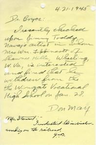 Don May to Dr. Boyce and Boyce to Stewart; April 21, 1945; Decimal Files, 1936-1942 (NAID 7863878)