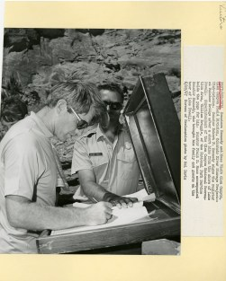 Senator Kennedy signing the register at Rainbow Bridge.