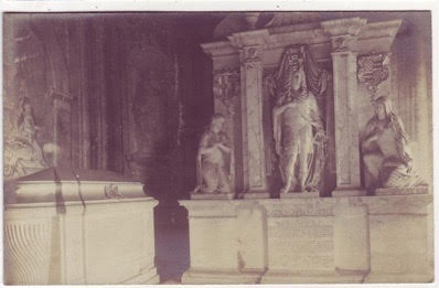 archival photograph of a tomb or memorial possibly in Italy