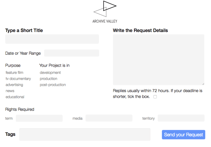 Now add licensing needs and project details to your footage request.