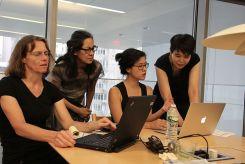 Asian/Pacific/American art and artists WikiEditathon at MoMA with Jennifer Tobias, Nina Kuo, Ann Matsuuchi, 2015. Photo by Lia Chang.