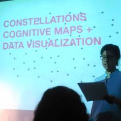 """Karen L. Hwang moderating """"Constellations, Cognitive Maps and Data Visualization: Keywords for Radicals"""" event at Interference Archive, 2016"""