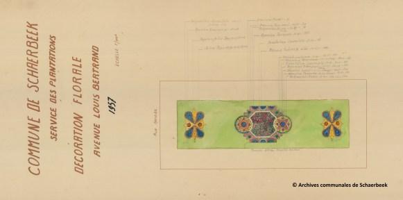 Plan van de aanplanten van Louis Bertrandlaan in Schaarbeek (1957)