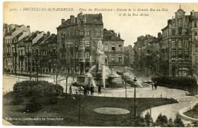 De bron van de Weldoenersplein in Schaarbeek (circa 1920)