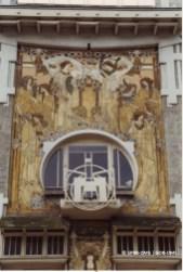 Maison Cauchie, rue des Francs n°5 (Etterbeek), détail de la façade, architecte et sgraffites : Paul Cauchie| Herenhuis Cauchie, Frankenstaat nr 5 (Etterbeek), detail van de voorgevel, architect en sgraffito : Paul Cauchie - photo : © Monuments & Sites – Bruxelles
