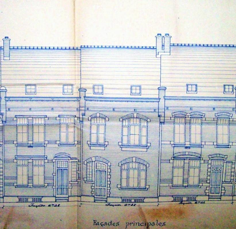 Rue du Tilleul n°186-194, plan, 1902, Archives de l'Urbanisme de Schaerbeek | Lindestraat nr186-194, plan, 1902, Archieven van de Stedenbouw van Schaarbeek